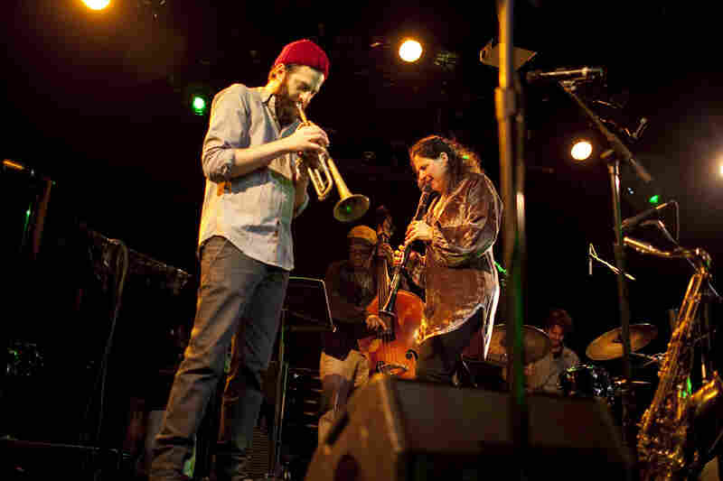The Anat Cohen quartet, featuring Vicente Archer on bass and Daniel Freedman on drums, welcomed Anat's brother, trumpeter Avishai Cohen, to the stage. Pianist Jason Lindner is not shown.