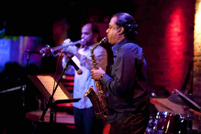 Trumpeter Amir ElSaffar led Two Rivers, an ensemble that blends Iraqi maqam with jazz improvisation. Saxophonist Rudresh Mahanthappa was a more-than-willing microtonal explorer.