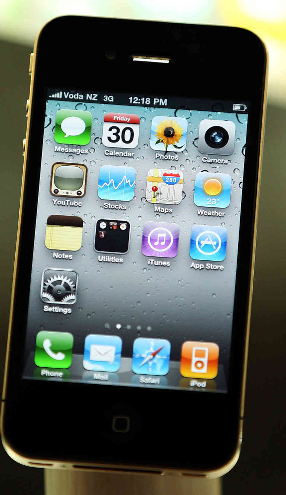 A demonstration model of the iPhone 4, displayed at the Vodafone Newmarket store on July 30, 2010 in Auckland, New Zealand.