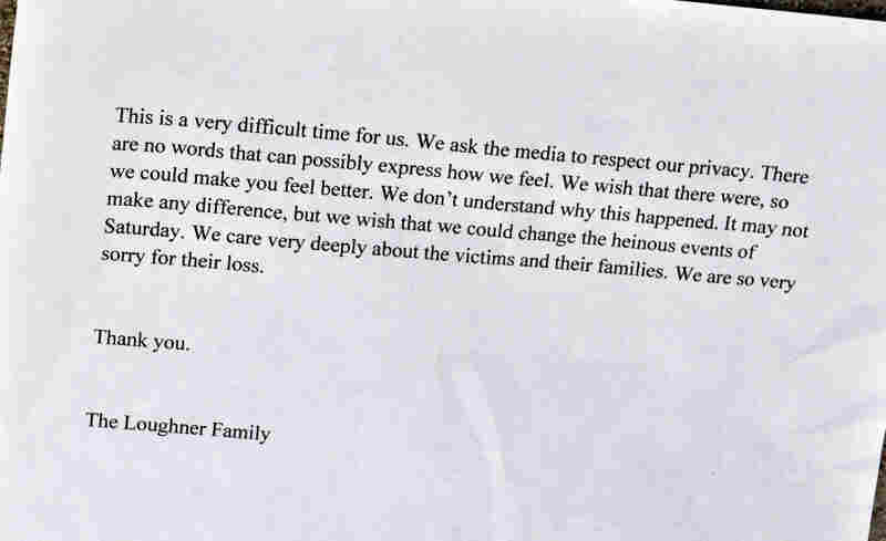 Copies of this written statement from Randy and Amy Loughner were distributed to reporters waiting outside  their home Tuesday.