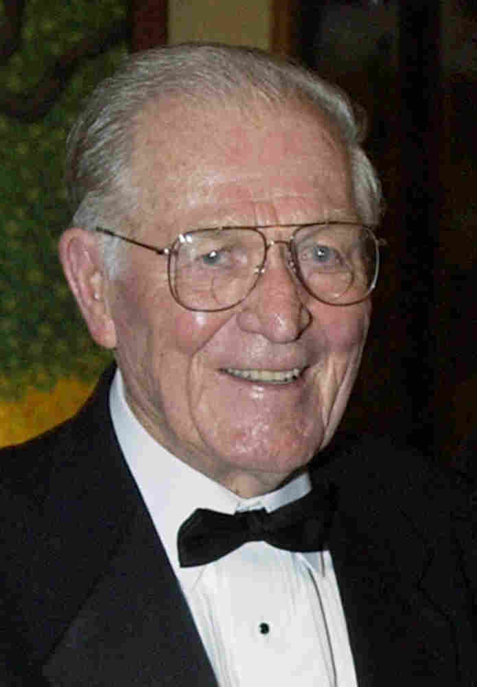 "Maj. Richard ""Dick"" Winters, shown in this Sept. 22, 2002, photo, died Jan. 2 in central Pennsylvania, a family friend confirmed Monday. Winters' quiet leadership was chronicled in the book and television miniseries 'Band of Brothers.' He was 92."