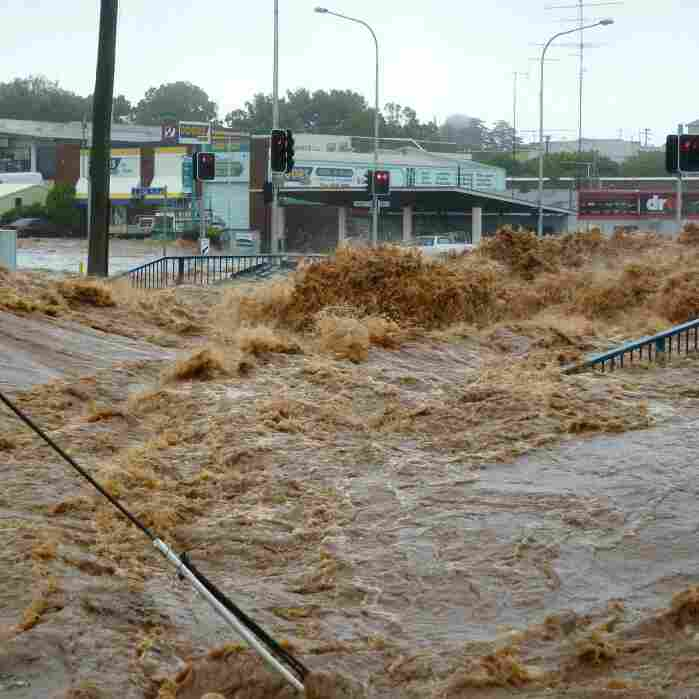 Jan. 10, 2011: flood waters swamp a the city of Toowoomba, Australia.