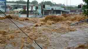 Jan. 10, 2011: flood waters swamp a the city of Toowoomba, Australia.