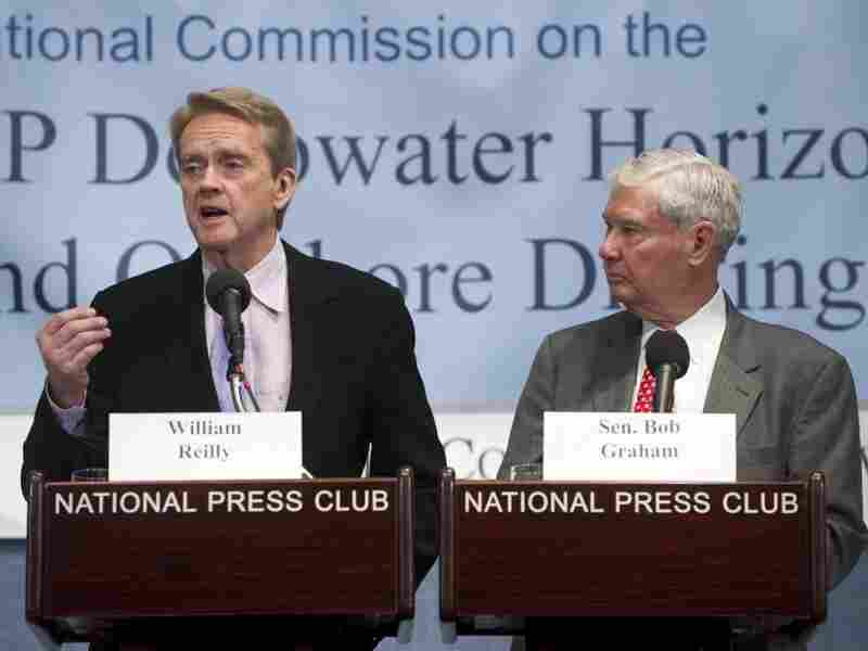 William Reilly (left) and former U.S. Sen. Bob Graham were co-chairs of The National Oil Spill Commission. They released the final report on the findings and recommendations of the commission on Tuesday.