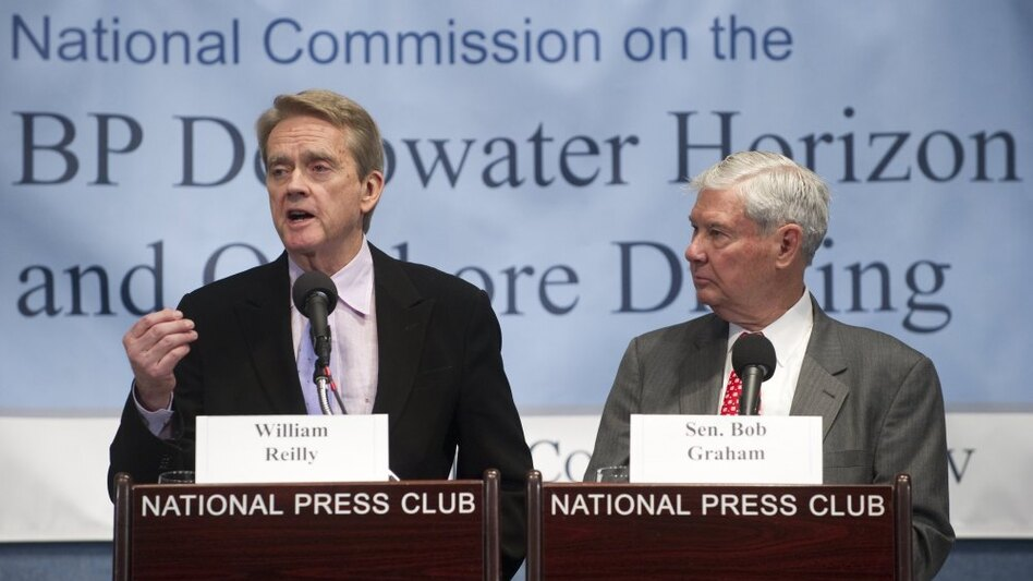 Co-chairs William Reilly (left) and former U.S. Sen. Bob Graham announced the spill commission's final recommendations on Tuesday.