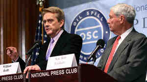 Bill Reilly (left) and former Sen. Bob Graham, co-chairmen of the National Commission on the BP Deepwater Horizon Oil Spill and Offshore Drilling, announce the findings of the commission's final report Tuesday.