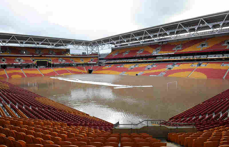 Water fills Suncorp Stadium, the iconic Queensland venue for rugby and football matches.