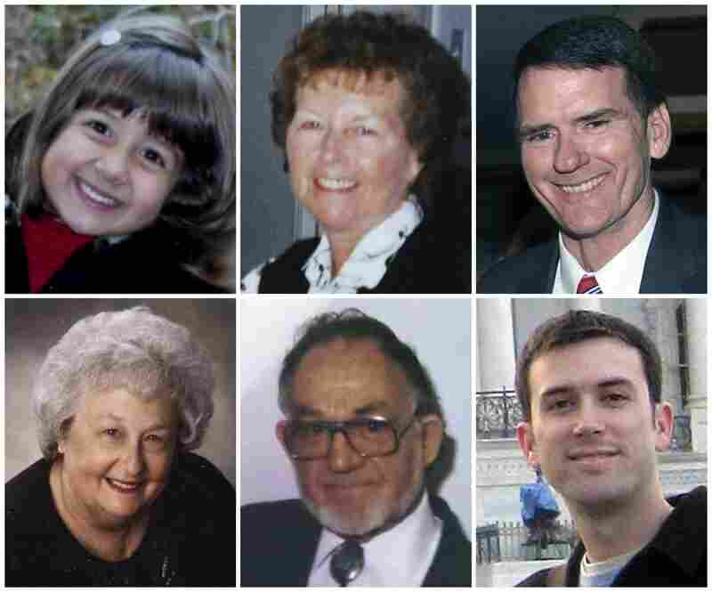 Victims of Saturday's shooting include (top, from left) Christina Taylor Green, 9; Dorothy Morris, 76; Arizona Federal District Judge John Roll, 63; and (bottom, from left) Phyllis Schneck, 79; Dorwin Stoddard, 76; and Gabe Zimmerman, 30.