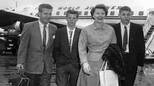 The Nelson family leaves for vacation in 1954: from left to right is Ozzie Nelson, Ricky Nelson, Harriet Nelson and David Nelson.