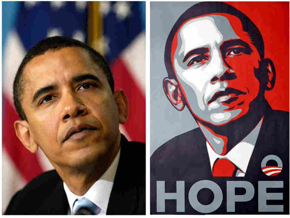 The AP photo, left, and the Shepard Fairey poster.