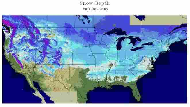 "The snow cover across the ""lower 48"" as of this morning (Jan. 12, 2011)."