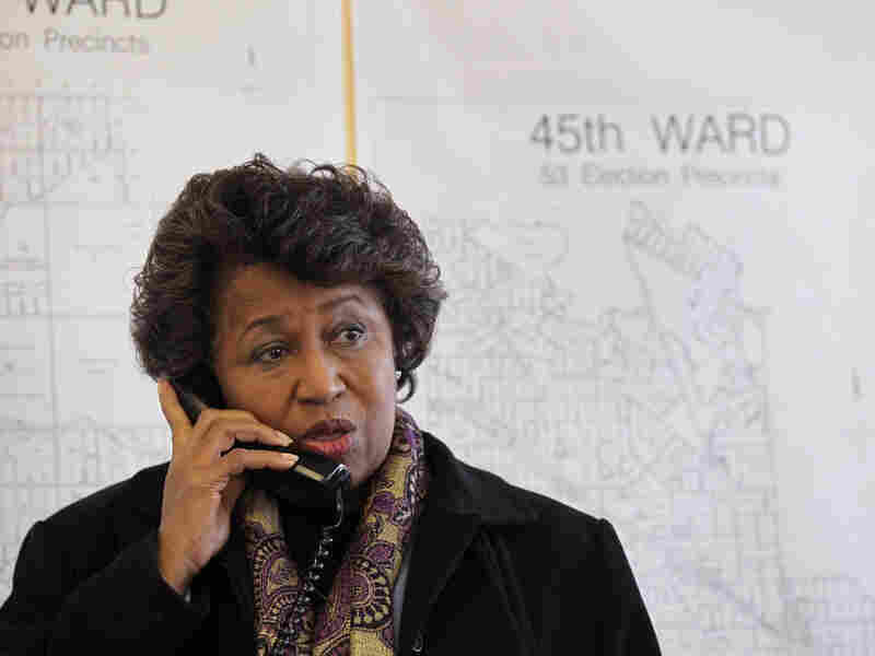 Former U.S. senator and current Chicago mayoral candidate Carol Moseley Braun takes a call following a press conference at her campaign headquarters in Chicago, Illinois. Braun was recently endorsed in her run for mayor by prominent black Chicago leaders.