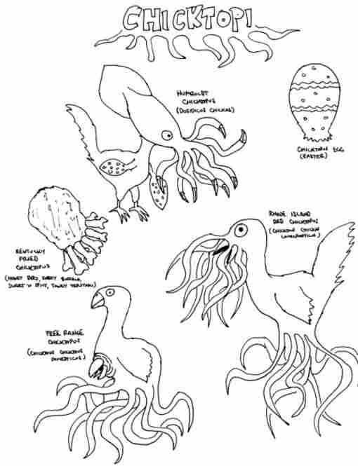 """Chicktopi"" by Dex Gormenghast.  Clockwise from top: ""Humboldt Chicktopus,"" ""Chicktopus Egg,"" ""Rhode Island Red Chicktopus,"" ""Free Range Chicktopus"" and ""Kentucky Fried Chicktopus."""
