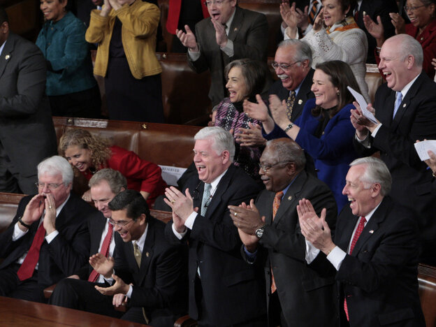 Democrats in their traditionally partisan seating at President Obama's 2010 State of the Union speech.