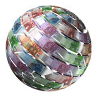 Globe made of euro currency.