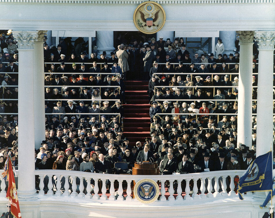 The inaugural address of John F. Kennedy, 35th President of the United States, on Jan. 20, 1961, in Washington, D.C.  (John Fitzgerald Kennedy Library/NPR)