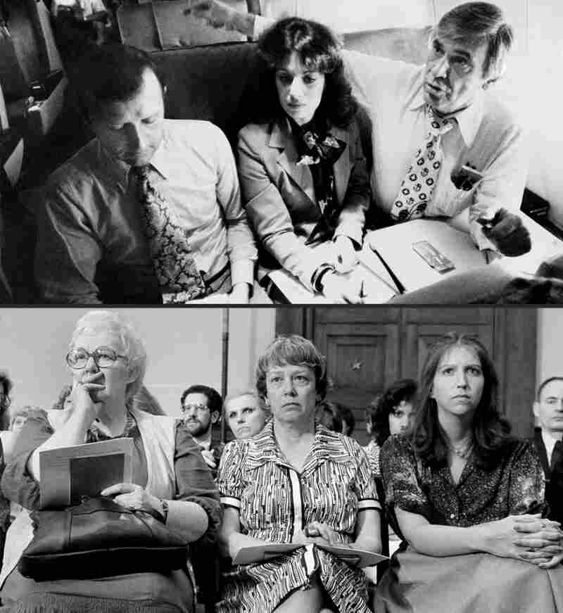 At top, Rep. Leo Ryan(far right) flies to Guyana on Nov. 18, 1978, along with consultant James Schollart and aide Jackie Speier. In 1979, Erin Ryan (at right in lower image) attended a congressional hearing on the Jonestown killings.