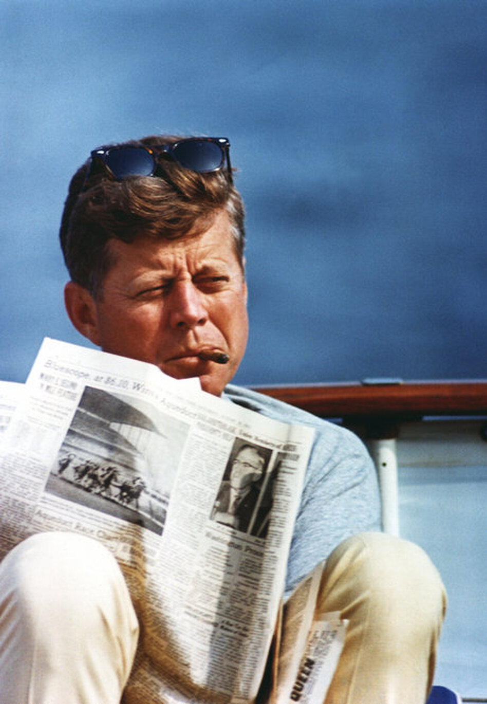 President Kennedy aboard the family yacht, the Honey Fitz, on Aug. 31, 1963, off Hyannis Port, Mass.  (John Fitzgerald Kennedy Library/NPR)