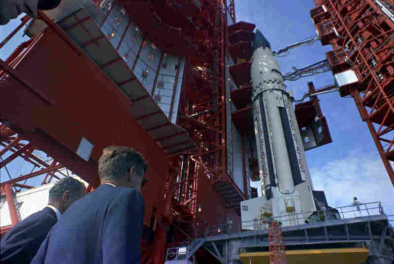 Sen. George Smathers (D-FL), and President Kennedy  get a look at the Saturn rocket at Cape Canaveral, Fla. on Nov. 16, 1963.