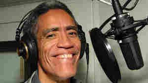 "Ted Williams as he recorded voice-over promos for MSNBC's ""Lean Foward"" campaign on Jan. 6, 2011."