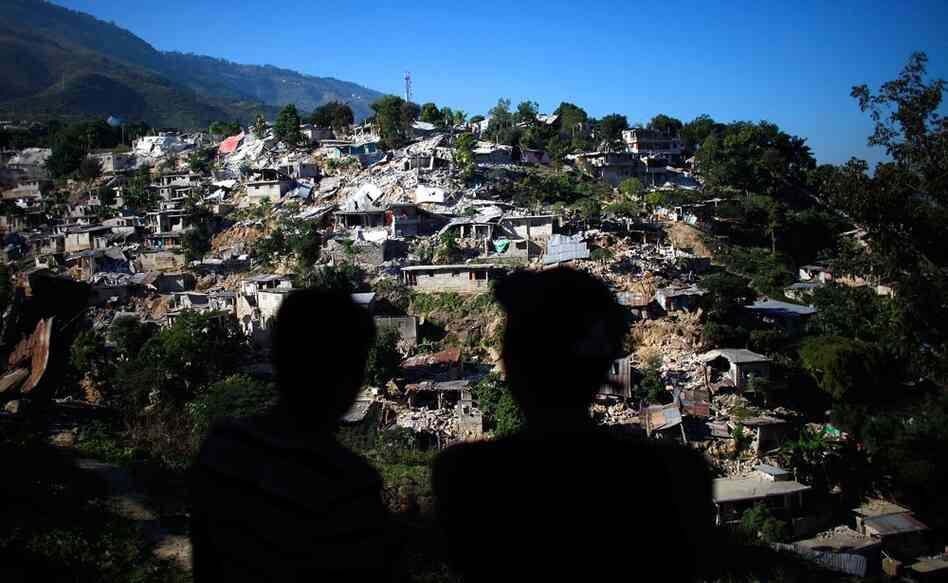 Entire hillsides of houses were destroyed in Haiti's 2010 earthquake, like this one near downtown Port-au-Prince, Jan. 15, 2010.
