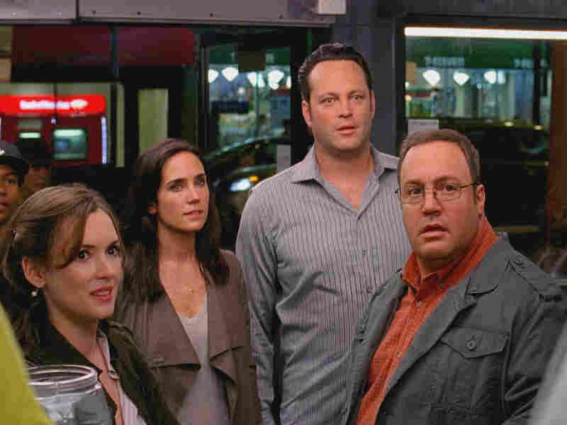 """(From left) Geneva (Winona Ryder), Beth (Jennifer Connelly), Ronny (Vince Vaughn) and Nick (Kevin James) star in Ron Howard's goofy bromance, """"The Dilemma."""""""