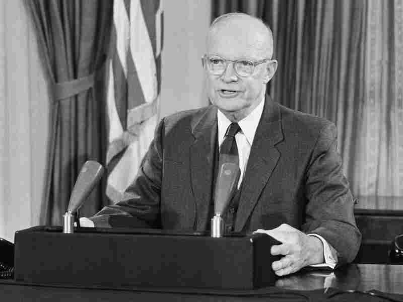 In his final speech from the White House, President Dwight D. Eisenhower warned that an arms race would takeresources from other areas -- such as building schools and hospitals.