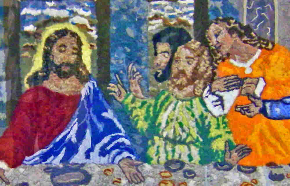 "Laura Bell's masterpiece: a reproduction of da Vinci's ""Last Supper"" made of lint."