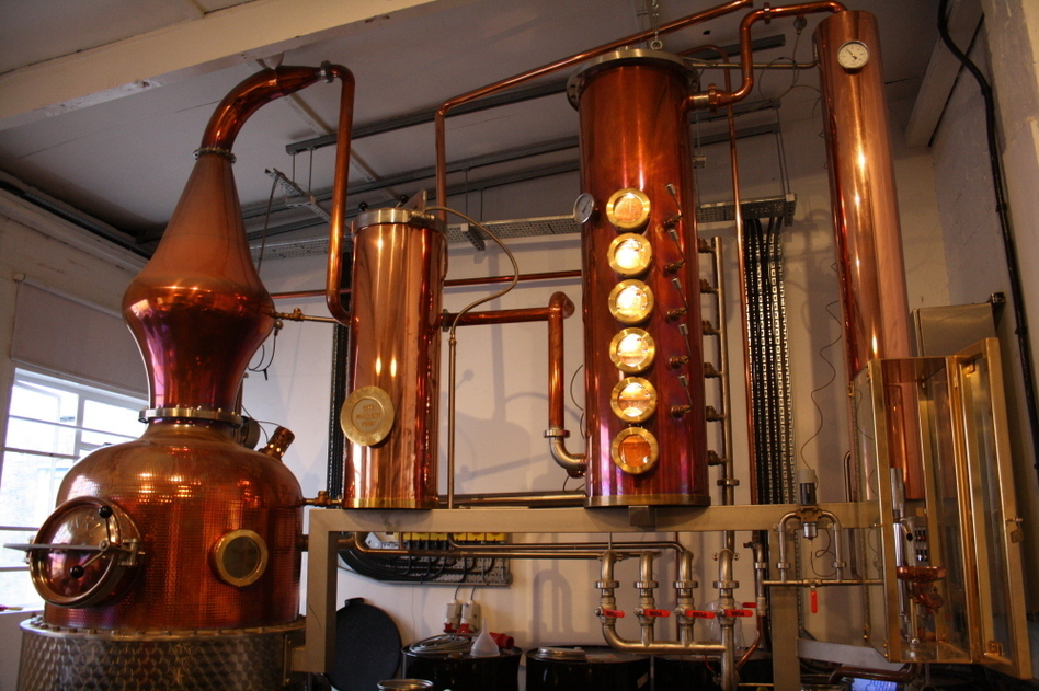 "Meet ""Prudence,"" Sipsmith's handmade, copper-pot still. It's the first copper gin still to be licensed in London since 1820."