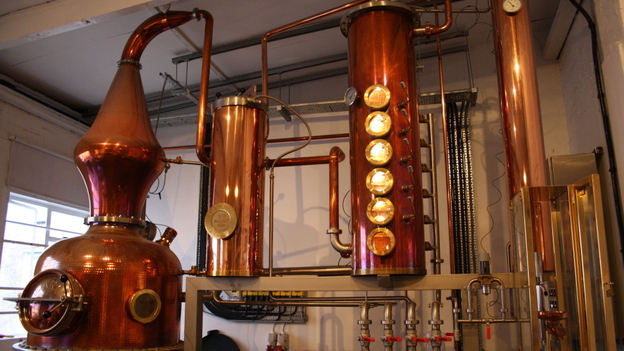 """Meet """"Prudence,"""" Sipsmith's handmade, copper-pot still. It's the first copper gin still to be licensed in London since 1820. (NPR)"""
