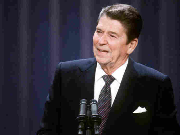 President Reagan addresses the Republican National Convention in Dallas on Aug. 23, 1984.