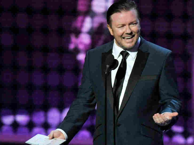 Ricky Gervais presents an award at the 61st Primetime Emmy Awards in 2009. The actor and comedian hosts the Golden Globes Sunday for the second year in a row.
