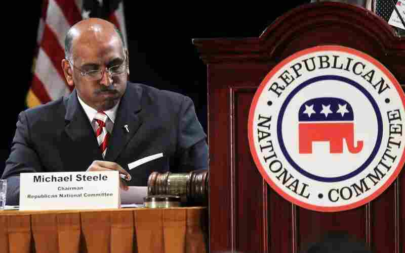 Incumbent Republican National Committee Chairman Michael Steele listens during a session of the RNC Winter Meeting Friday.