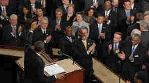 For President Obama's 2010 State of the Union address, Democrats and Republicans sat on opposite sides of the House Chamber. Th