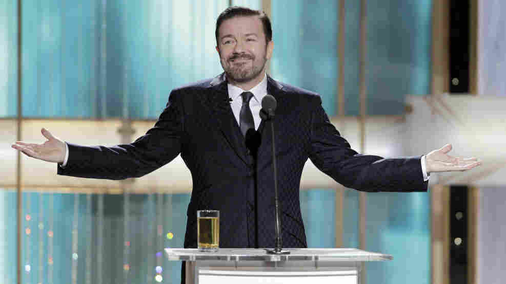 In this handout photo provided by NBC, Host Ricky Gervais speaks onstage during the Golden Globes at the Beverly Hilton International Ballroom on January 16, 2011 in Beverly Hills, California. (Photo by Paul Drinkwater/NBC via Getty Images)