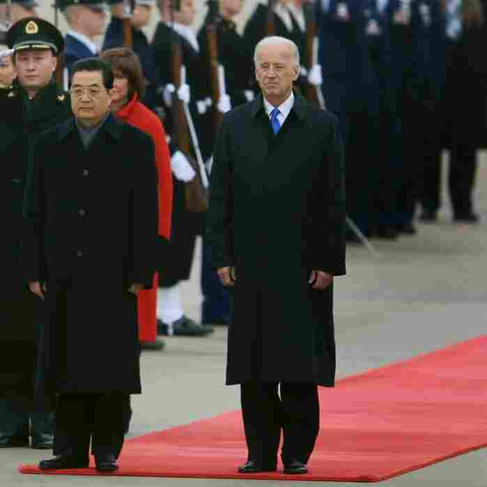 Vice President Joseph Biden welcomes Chinese President Hu Jintao to Andrews Air Force Base on Tuesday. Analysts say the Chinese leader's visit could be among the most pivotal in U.S. history. Hu meets with President Obama on Wednesday.