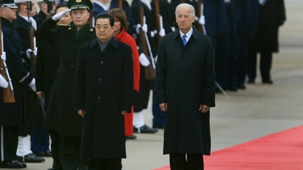 Vice President Joseph Biden welcomes Chinese President Hu Jintao to Andrews Air Force Base on Tuesday. Analysts say the Chinese leader's visit could be among the most pivotal in U.S. history. Hu meets with President Obama on Wednesday. (Getty Images)