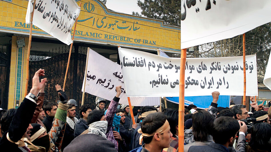 Afghan demonstrators shout anti-Iran slogans during a Jan. 7 protest in front of the Iranian Embassy, condemning the stopping of fuel tankers on their way into Afghanistan from Iran.