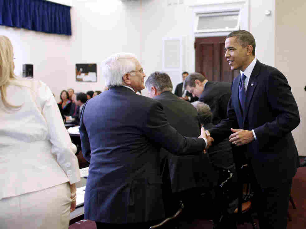 President Obama greets business leaders on the White House campus, Dec. 9, 2010.