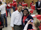 President Obama posed with a volunteer at a MLK Jr. holiday community service project in Washington, DC.