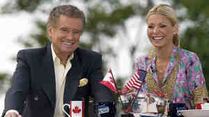 Regis Philbin and Kelly Ripa during the broadcast of 'Live! with Regis and Kelly' on the waterfront in Charlottetown, Prince Edward Island, Canada, on July 12, 2010.
