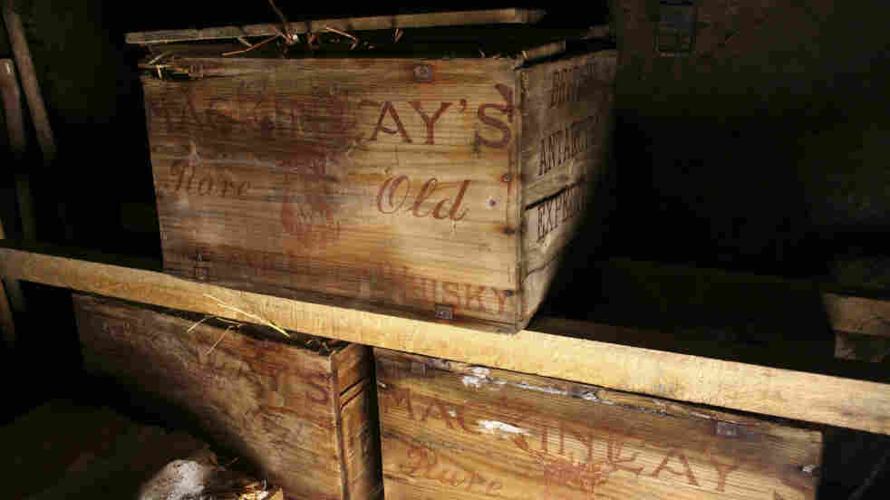 Crates of Scotch whisky and brandy are seen after being recovered by a team restoring an Antarctic hut used more than 100 years ago by famed polar explorer Ernest Shackleton.