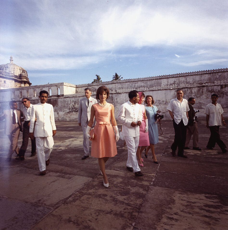 Jackie Kennedy visits the Lake Palace in Udaipur, India, on March 16, 1962.  (John F. Kennedy Presidential Library/NPR)