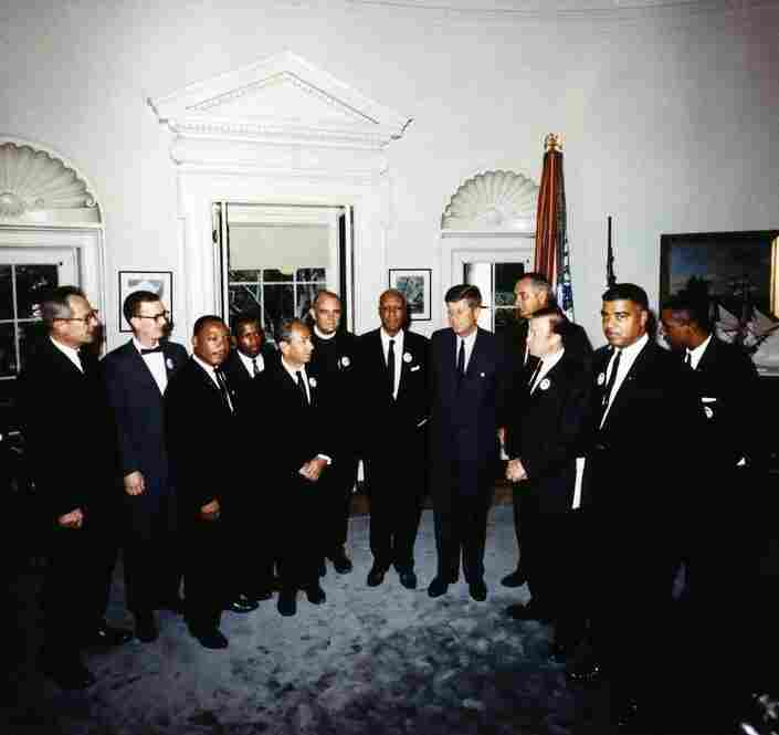 President Kennedy meets with the leaders of the March On Washington in the Oval Office on Aug. 28, 1963. At the meeting were (from left to right)  Labor Secretary Willard Wirtz, Mathew Ahmann, Rev. Martin Luther King Jr., John Lewis, Rabbi Joachim Prinz, Rev. Eugene Carson Blake, A. Philip Randolph, President Kennedy, Vice President  Lyndon Johnson, Walter Ruether, Whitney Young, Floyd McKissic...