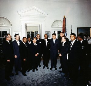 President Kennedy meets with the leaders of the March On Washington in the Oval Office on Aug. 28, 1963. At the meeting were (from left to right)  Labor Secretary Willard Wirtz, Mathew Ahmann, Rev. Martin Luther King Jr., John Lewis, Rabbi Joachim Prinz, Rev. Eugene Carson Blake, A. Philip Randolph, President Kennedy, Vice President  Lyndon Johnson, Walter Ruether, Whitney Young, Floyd McKissick.