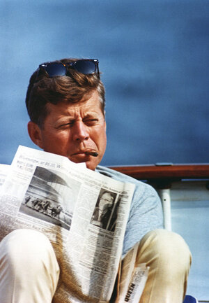 President Kennedy aboard the family yacht, the Honey Fitz, on Aug. 31, 1963, off Hyannis Port, Mass.