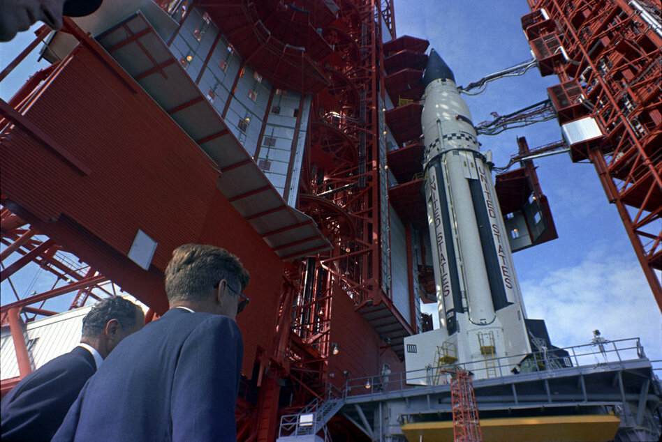 Sen. George Smathers (D-FL), and President Kennedy  get a look at the Saturn rocket at Cape Canaveral, Fla. on Nov. 16, 1963.   (John F. Kennedy Presidential Library/NPR)