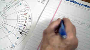 An astrologist works on an astrological chart.