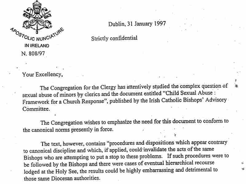 The Vatican says the letter written in 1997 does not instruct Irish bishops to disregard civil law, but lawyers in the U.S. say it shows the Vatican was responsible for sheltering abusive priests.