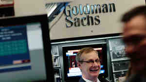 The Goldman Sachs booth on the floor of the New York Stock Exchange.